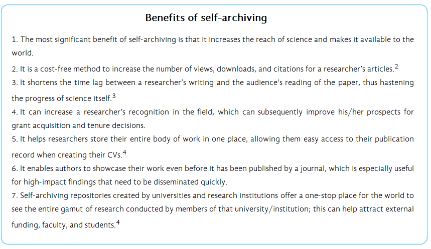 Benefits of Self-Archiving