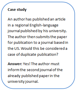 Duplicate publication case study