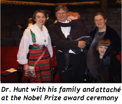 Tim Hunt, family, and attaché
