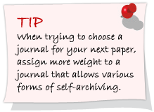 When trying to choose a journal for your next paper, assign more weight to a journal that allows various forms of self-achiving